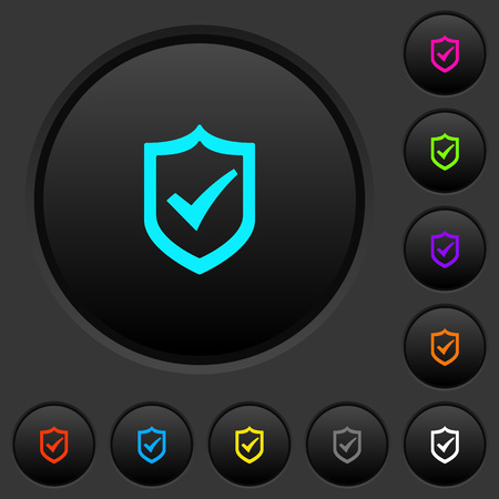 Active shield dark push buttons with vivid color icons on dark grey background