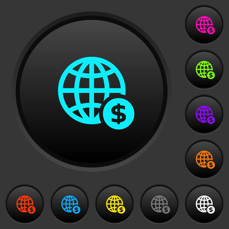 Online Dollar payment dark push buttons with vivid color icons on dark grey background