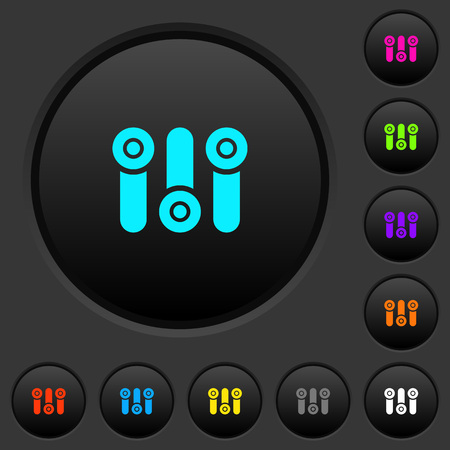 Control panel dark push buttons with vivid color icons on dark grey background