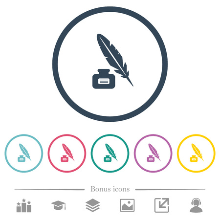 Feather and ink bottle with label flat color icons in round outlines. 6 bonus icons included.