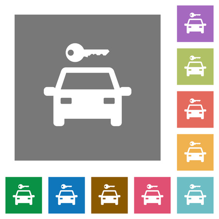 Car rental flat icons on simple color square backgrounds