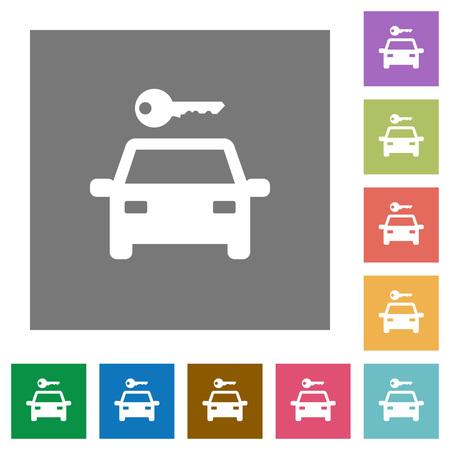 Flache Ikonen der Autovermietung auf einfachen farbigen quadratischen Hintergründen