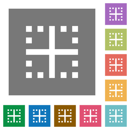 Inner borders flat icons on simple color square backgrounds Illustration
