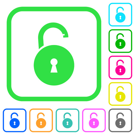 Unlocked round padlock with keyhole vivid colored flat icons in curved borders on white background