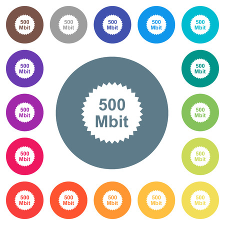 500 mbit guarantee sticker flat white icons on round color backgrounds. 17 background color variations are included.