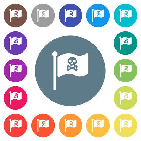 Pirate flag flat white icons on round color backgrounds. 17 background color variations are included.