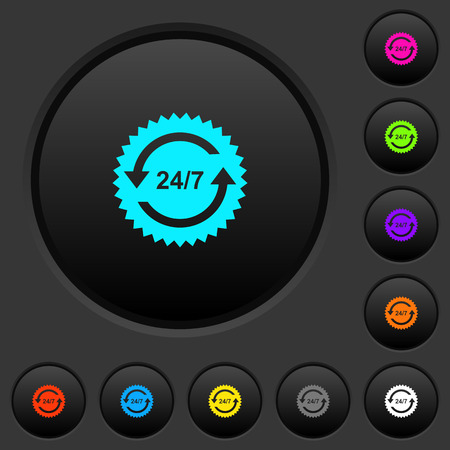 24 hours seven sticker with arrows dark push buttons with vivid color icons on dark grey background 向量圖像