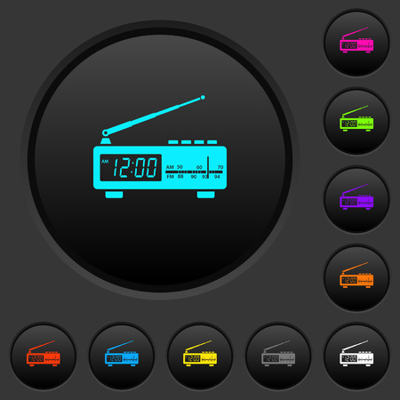 Vintage radio clock dark push buttons with vivid color icons on dark grey background