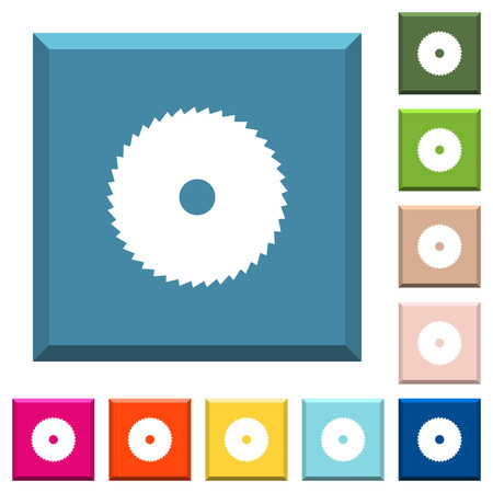 Circular saw white icons on edged square buttons in various trendy colors