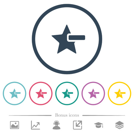 Remove star flat color icons in round outlines. 6 bonus icons included.