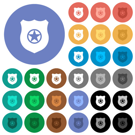Police badge multi colored flat icons on round backgrounds. Included white, light and dark icon variations for hover and active status effects, and bonus shades. Illusztráció