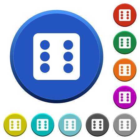 Dice six round color beveled buttons with smooth surfaces and flat white icons Ilustrace
