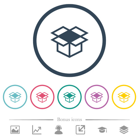 Open box flat color icons in round outlines. 6 bonus icons included.