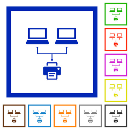 Network printing flat color icons in square frames on white background