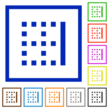 Right border flat color icons in square frames on white background