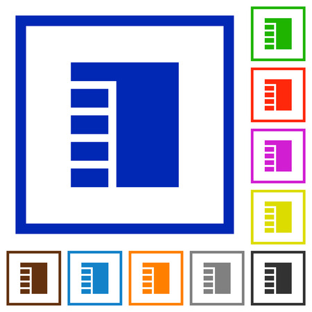 Vertical tabbed layout active flat color icons in square frames on white background