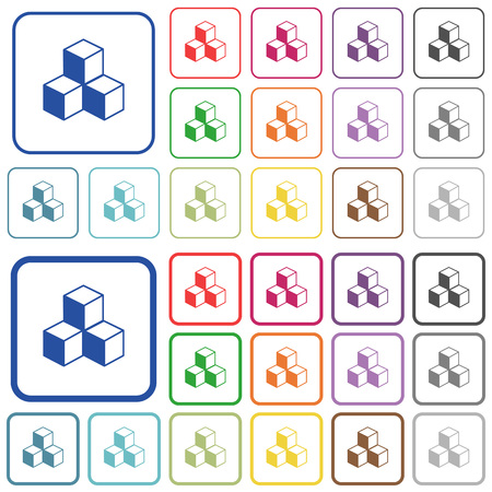 Cubes color flat icons in rounded square frames. Thin and thick versions included.