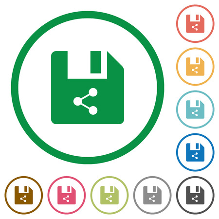 Share file flat color icons in round outlines on white background