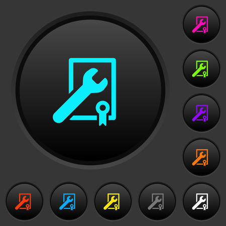 Award winning services dark push buttons with vivid color icons on dark grey background 写真素材 - 110084418
