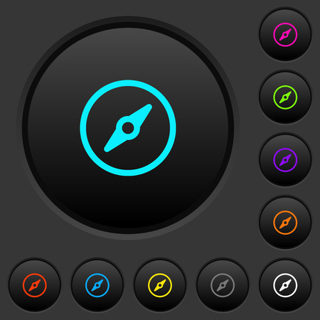 Simple compass dark push buttons with vivid color icons on dark grey background Ilustração