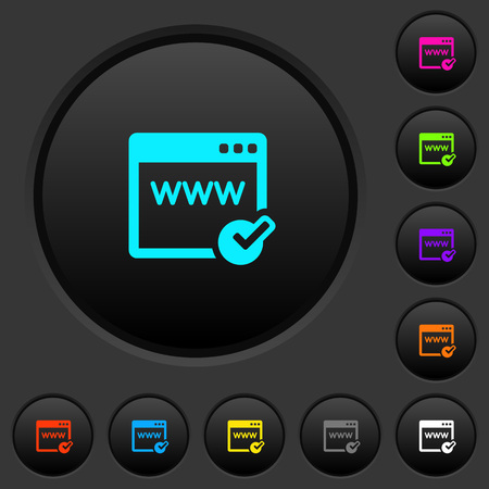 Domain registration dark push buttons with vivid color icons on dark grey background Фото со стока - 110084421