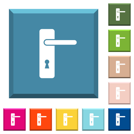 Right handed simple door handle white icons on edged square buttons in various trendy colors