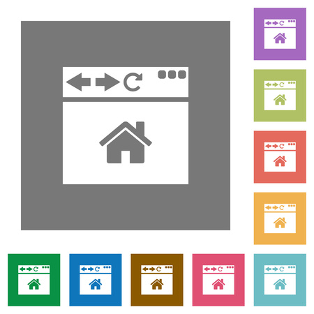 Browser home page flat icons on simple color square backgrounds Banque d'images - 108176082