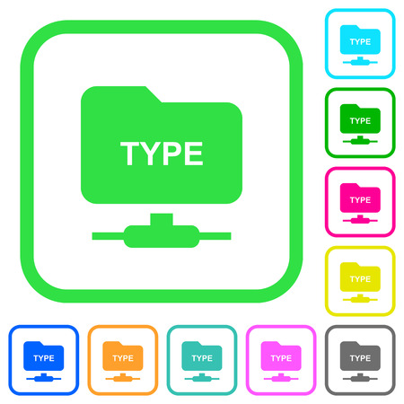 FTP enter passive mode vivid colored flat icons in curved borders on white background