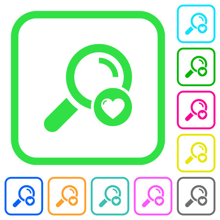 Favorite search vivid colored flat icons in curved borders on white background