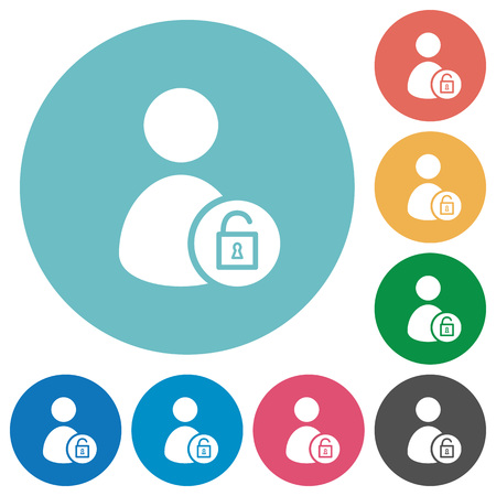 Unlock user account flat white icons on round color backgrounds