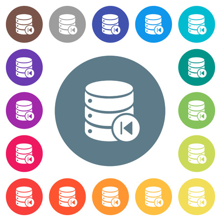 Database macro prev flat white icons on round color backgrounds. 17 background color variations are included. Illusztráció