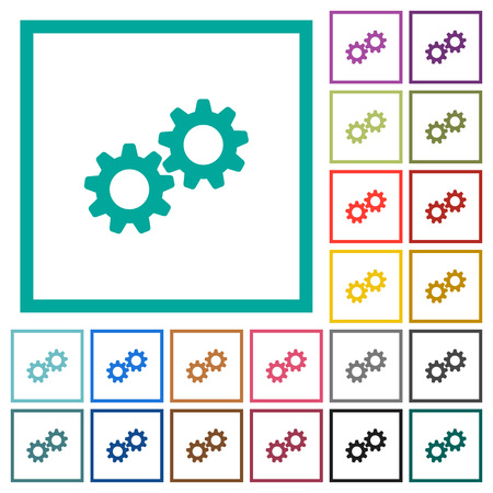 Collaboration flat color icons with quadrant frames on white background Illusztráció