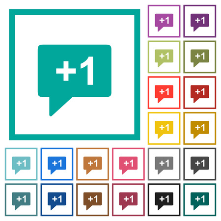 Plus one sign flat color icons with quadrant frames on white background
