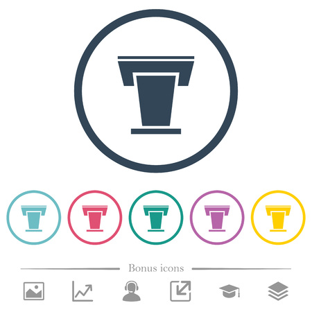 Conference podium flat color icons in round outlines. 6 bonus icons included.