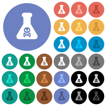 Dangerous chemical experiment multi colored flat icons on round backgrounds. Included white, light and dark icon variations for hover and active status effects, and bonus shades. Ilustrace