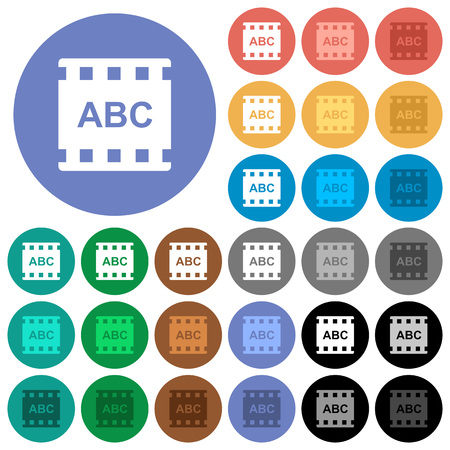 Movie subtitle multi colored flat icons on round backgrounds. Included white, light and dark icon variations for hover and active status effects, and bonus shades.