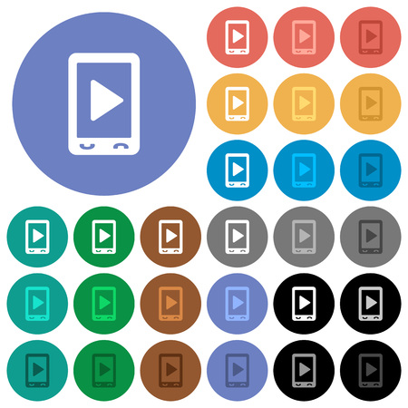 Mobile play media multi colored flat icons on round backgrounds. Included white, light and dark icon variations for hover and active status effects, and bonus shades.