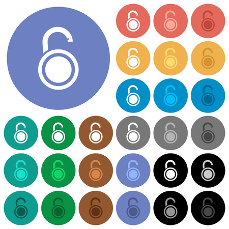 Unlocked round padlock multi colored flat icons on round backgrounds. Included white, light and dark icon variations for hover and active status effects, and bonus shades.  イラスト・ベクター素材