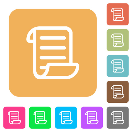 Script code flat icons on rounded square vivid color backgrounds.