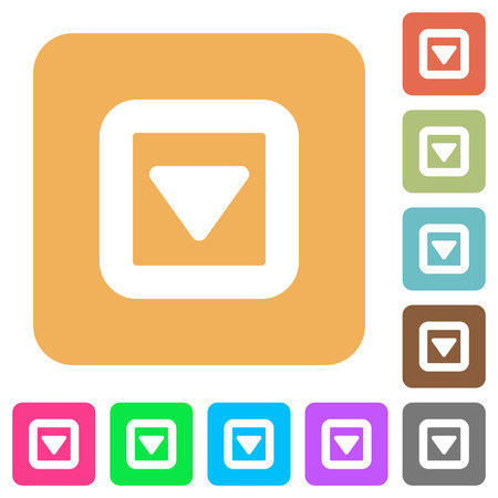 Toggle down flat icons on rounded square vivid color backgrounds.