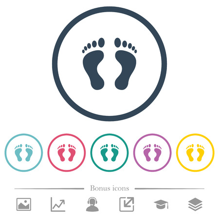 Human Footprints flat color icons in round outlines. 6 bonus icons included. Illustration