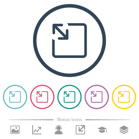 Resize object flat color icons in round outlines. 6 bonus icons included.
