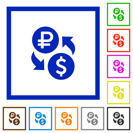 Ruble Dollar money exchange flat color icons in square frames on white background
