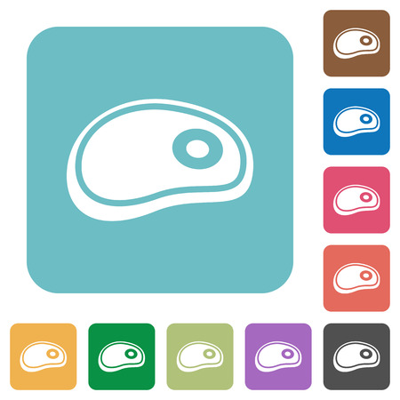 Steak white flat icons on color rounded square backgrounds