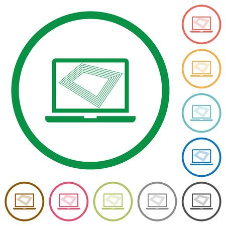 Protector de pantalla en los iconos de color plano de la computadora portátil en contornos redondos sobre fondo blanco
