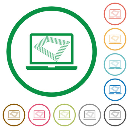 Screen saver on laptop flat color icons in round outlines on white background