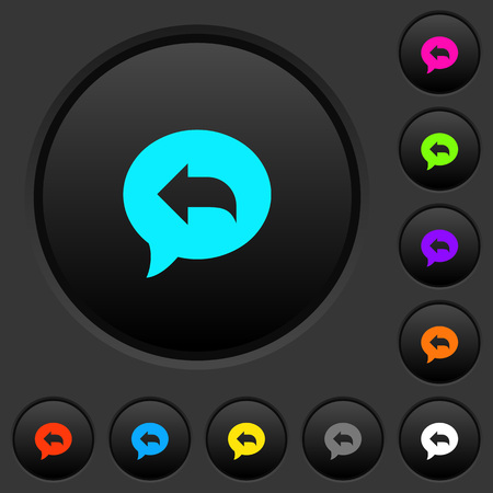 Reply message dark push buttons with vivid color icons on dark grey background