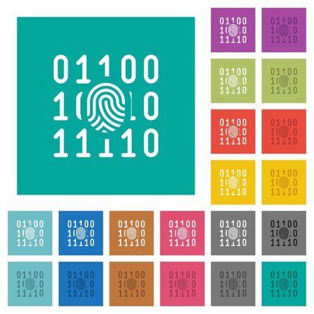 Digital fingerprint multi colored flat icons on plain square backgrounds. Included white and darker icon variations for hover or active effects.