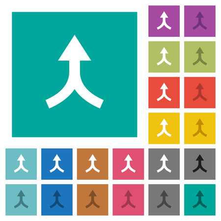 Merge arrows up multi colored flat icons on plain square backgrounds. Included white and darker icon variations for hover or active effects.