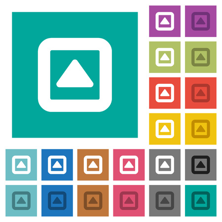 Toggle up multi colored flat icons on plain square backgrounds. Included white and darker icon variations for hover or active effects.